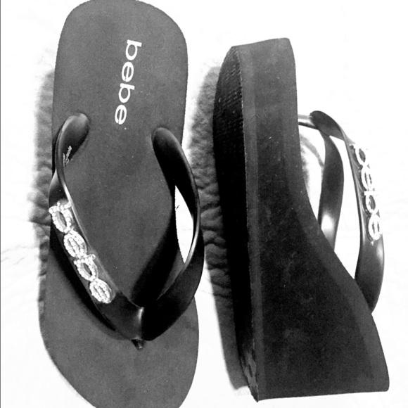 cc690c2f2f4 bebe Shoes - Black bebe thong wedge sandals